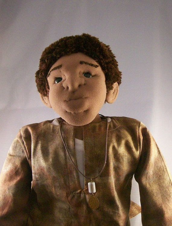 Free Shipping, Hakim - Soft sculptured African American Art doll, 16 inches