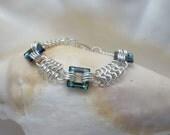 Swarovski Crystal Square Links on Argentium Silver Chainmaille Bracelet
