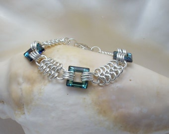 Swarovski Crystal Square Links on Argentium Silver Chainmaille Bracelet