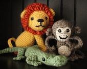 3-IN-1 PATTERN: Crochet Amagurumi Lion, Monkey and Gator