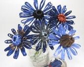 Wanda bouquet. Vintage swistraw flowers woven flowers in navy, periwinkle, grey, black and copper by Ruby Buffalo.
