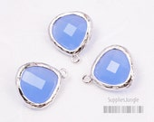 F100-S-RB// Rhodium Framed Royal Blue Faceted Glass Stone Pendant, 2 pcs