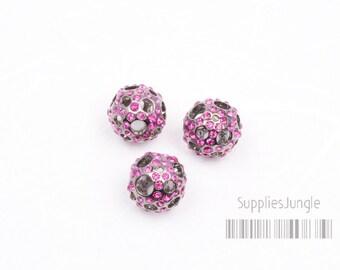 SALE// MB020-FS// Hollow Cubic Ball Bead(Fuchsia), 12mm, 2 pcs