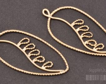 P396-MG// Matt Gold Plated Leaf Pendant, 2pcs