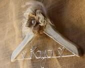 Personalized Children's Decorative Distressed Style Wooden Hanger w/ Custom BurlapBabe Flower