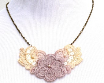 Lace Statement Necklace in Ivory and Lavender Ombre