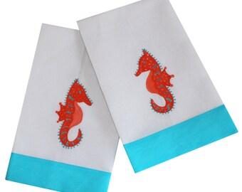 Orange and Turquoise Sea Horse Linen Guest Towel Set