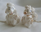 Vintage Spaghetti French Poodles Puppies Gold Trim Porcelain