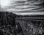Landscape and architecture wall art black and white photo print - The Bold Bridge