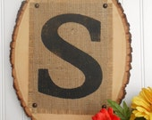 Tree slice and monogrammed burlap wedding sign for the BRIDE AND GROOM, mr and mrs initial