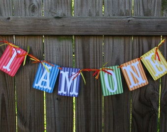 First Year Birthday Banner I AM ONE Baby's First Birthday Banner Photo Prop