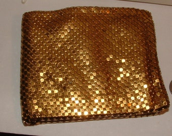 GOLD MESH WALLET - ooak- made in west germany 1950s to 60s mint cond.  the coolest vintage wallet ever
