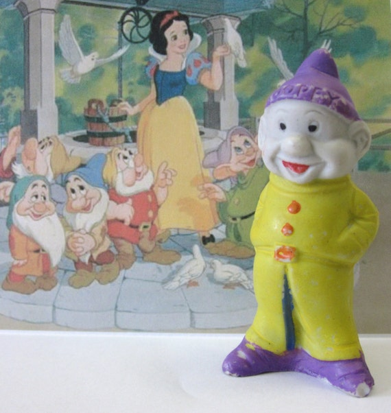 Vintage 1930s Walt Disney Dopey Figurine with Purple Hat Collectible Snow White and the Seven Dwarfs