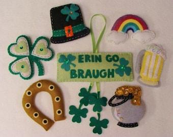St. Patrick's Ornaments-PDF Pattern -Stitch and Stuff-Instant Download