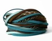 boho wrap bracelet leather wrap bracelet ribbon suede wrap turquoise  brown wrap rocker cuff triple wrap
