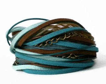 boho wrap bracelet, leather wrap bracelet, ribbon suede wrap, turquoise & brown wrap, rocker cuff, triple wrap