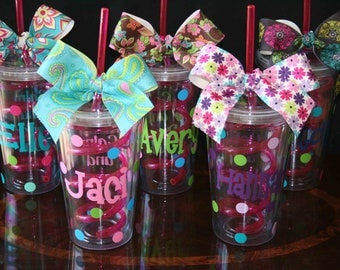 5 Personalized Acrylic Tumblers with Pink Crazy Straws