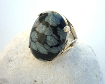 Sterling silver ring,Gemstone ring, Black and white ring,Snowflake Obsidian ring,Sterling silver gemstone ring