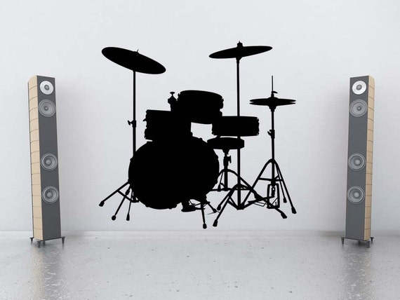 Drum Set Wall Decor : Drum set art wall decal snare cymbals