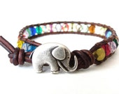 Elephant bracelet with colourful beads, rainbow color wrap bracelet for girls, cute gift for best friend, friendship bracelet