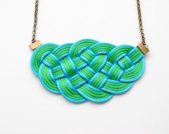 Green necklace, green and turquoise necklace, nautical style, cord necklace, fiber necklace, rope jewelry, boho necklace, bib necklace