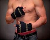MEN'S FINGERLESS Bad Ass GLOVES Seasonal Worker Knitted Superwash Wool Navy Blue Maize University of Michigan Ooak