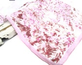Ladies Linen Handkerchief Floral Mid Century Fashion Accessories Hanky Pink Flowers
