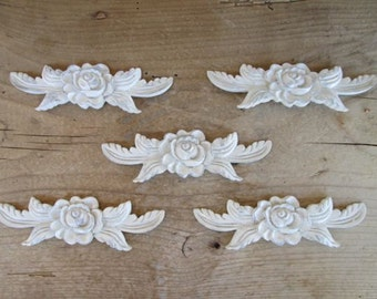 Furniture Flower Onlay Applique Vintage Furniture Trim Mouldings Shabby Chic Cottage