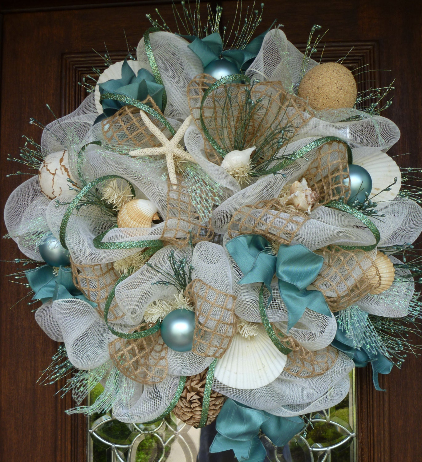 Deco mesh shabby chic beach wreath for Deco decorations