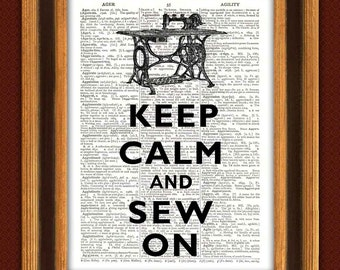 Keep calm Print, Keep calm and sew on  dictionary print. Dictionary Art Print. Upcycled book page decorative arts keep calm wall hangings