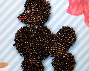Vintage Kitsch Mid Century Hand Beaded Poodle Applique