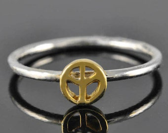 peace sign ring, gold ring, stacking ring, personalized ring, sterling silver ring, novelty ring