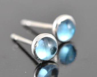 swiss blue topaz earrings, stud earrings, december, birthstone, bridesmaid gift, bridal, sterling silver earrings