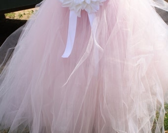"Pink Flower girl dress ""Cotton Candy"" Weddings, easter, photoprop, birthday, pageant SEWN tutu, tulle dress"