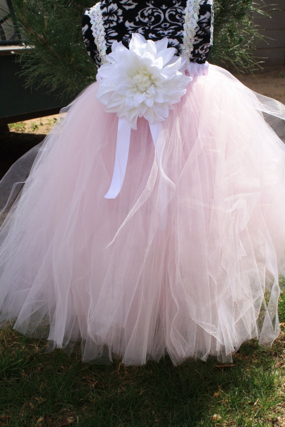 """Pink Flower girl dress """"Cotton Candy"""" Weddings, easter, photoprop, birthday, pageant SEWN tutu, tulle dress"""