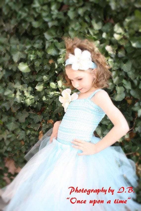Blue flower girl tutu dress great for beach weddings, winter weddings