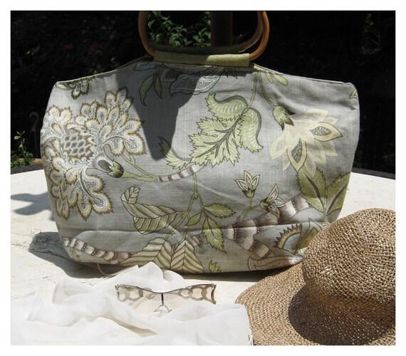 Elegant Tropical linen handmade purse with bamboo handles