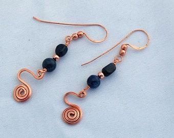 Blue Dumortierite and Copper Spiral Dangle Earrings