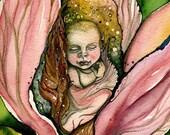 Handmade embossed newborn baby fairy greeting cards