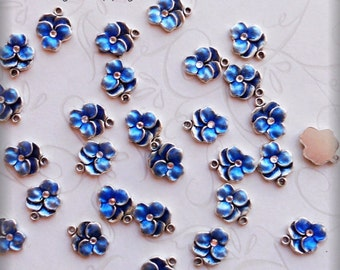 Blue Pansy enameled charms (x4)