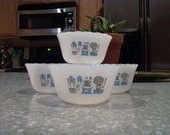 Fire King Blue Heaven Custard Cups