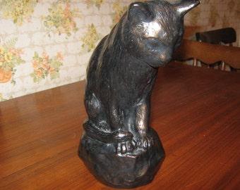Vintage Alva Studios Plaster Cat Statue Figurine