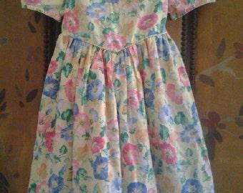 Girls gingham and flowered summer dress