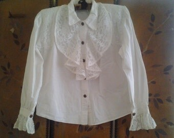 RAMPAGE white new romantic frilly 1980s blouse