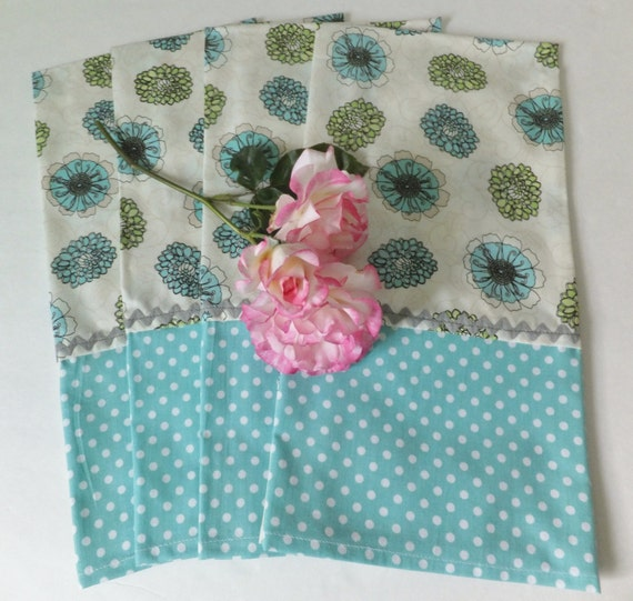 Turquoise Kitchen Towels: Set Of 4 Gray And Turquoise Dish Towels Tea By Juliegalbraith