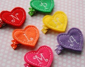 Monogram Heart Hair Clip Set - 6 Hair Clips - Felt Hair Clip - Hair Clip - Monogram Clippie - Bright Colors - Intial Hair Clip