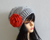 Hand knit hat with crochet flower  Knit womens hats Women hat Big Flower Crochet  Womens Hat Winter Accessories Autumn Fashion