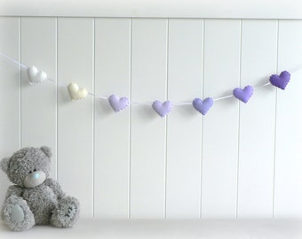 Heart garland - banner - bunting - purple, white and cream - Nursery decor - birthday decoration - ombré - MADE TO ORDER