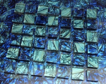 2 Color - Van Gogh Glass Mosaic Tiles - BLUE & BLUEGREEN  B11*