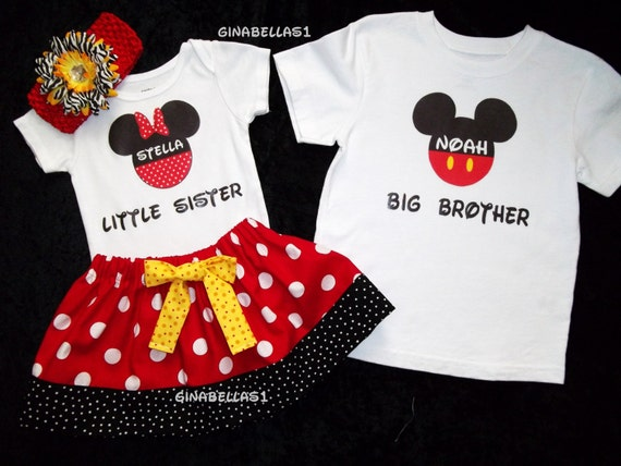 Minnie Mouse onesie Mickey Mouse tee shirt 1st Birthday outfit little man big brother twins sister boy size 3 6 9 12 18 months 2t 3t 4t 5 6
